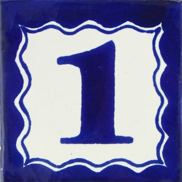 Mexican Ceramic House Number One Handmade Tile