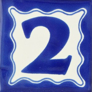 Mexican Talavera Blue House Number Tile