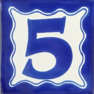 Mexican Ceramic Decorative House Number Folk Art Tile