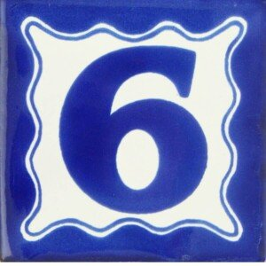 Mexican Ceramic Blue House Number Decorative Tile