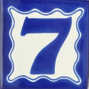 Mexican Talavera Decorative Blue House Number tile