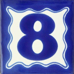Mexican Ceramic Talavera Blue House Number Tile