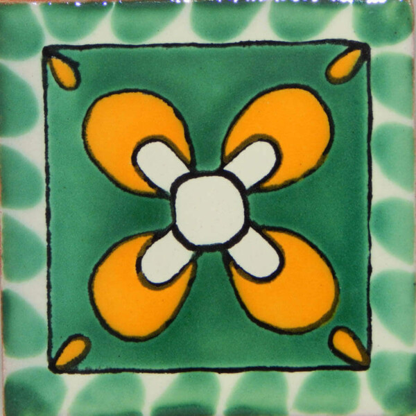 Green mono Mexican Ceramic Handmade Tile