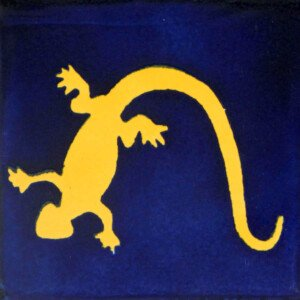 Lizard BLue and Yellow Mexican Decorative Tile