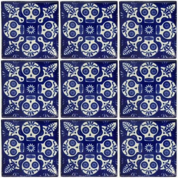 Fantastic 12X12 Tiles For Kitchen Backsplash Tall 12X24 Ceiling Tile Square 12X24 Ceramic Tile 24 Inch Ceramic Tile Youthful 24 X 48 Ceiling Tiles Bright3X6 Subway Tile Backsplash Mexican Day Of The Dead Blue Calavera Handmade Ceramic Tile ..