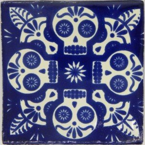 Mexican Day of the Dead Blue Calavera Handmade Ceramic Tile