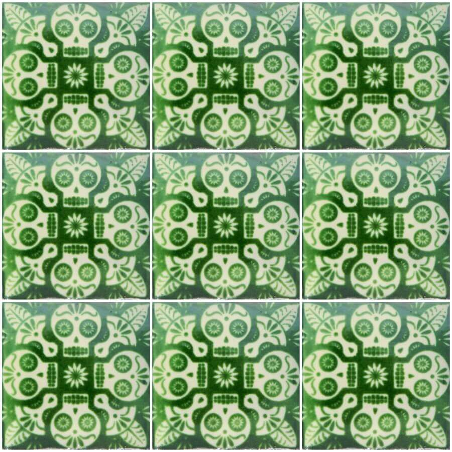Mexican Ceramic Day Of The Dead Green Decorative Tile
