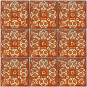 Mexican Ceramic Dia de Los Muertos Hand painted Terracota Tile