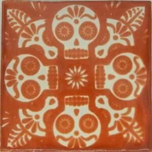 Mexican Ceramic Dia de Los Muertos Hand painted Terracota Tile