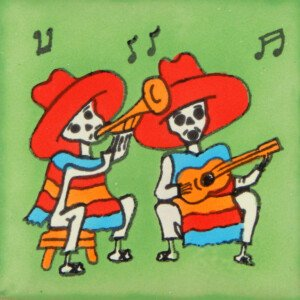 Mexican Day of the Dead Musicians Decorative Tile Dia de Muertos
