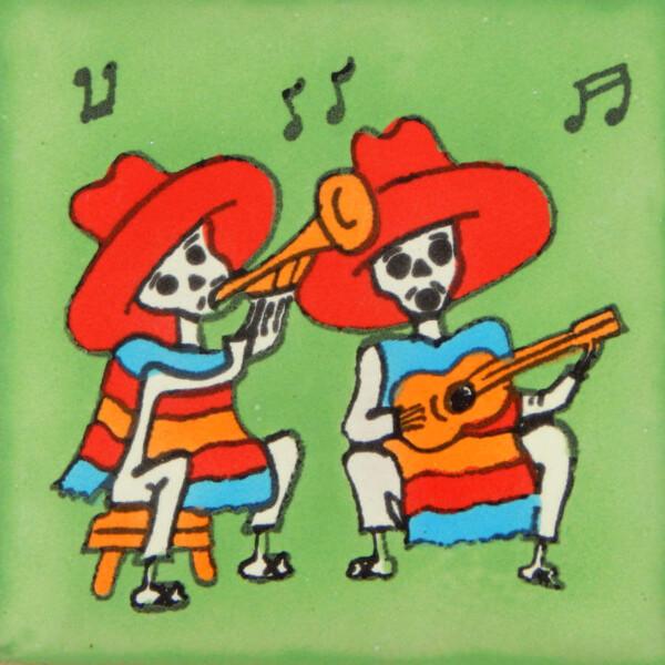 Mexican Day of the Dead Musicians Decorative Tile Dia de Muertos