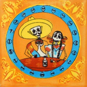 Mexican Ceramic Day of the Dead Couple Folk Art Tile
