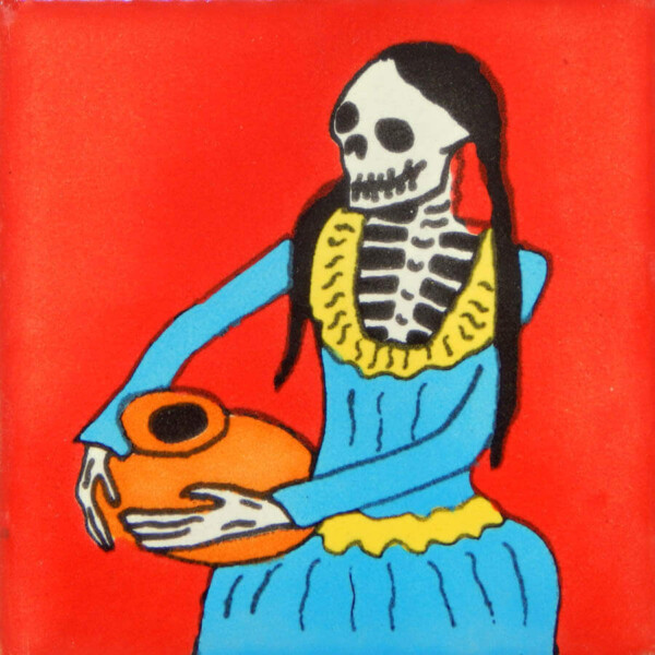 Mexican Ceramic Day of The dead Adelita Dia de Los Muertos Folk Art Tile