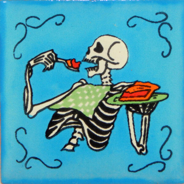 Mexican Day of The Dead Decorative Folk Art Food Dia de Los Muertos Tile