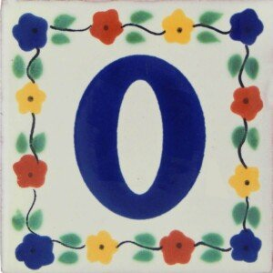 Mexican Ceramic Decorative Folk Art Flower Number Tile