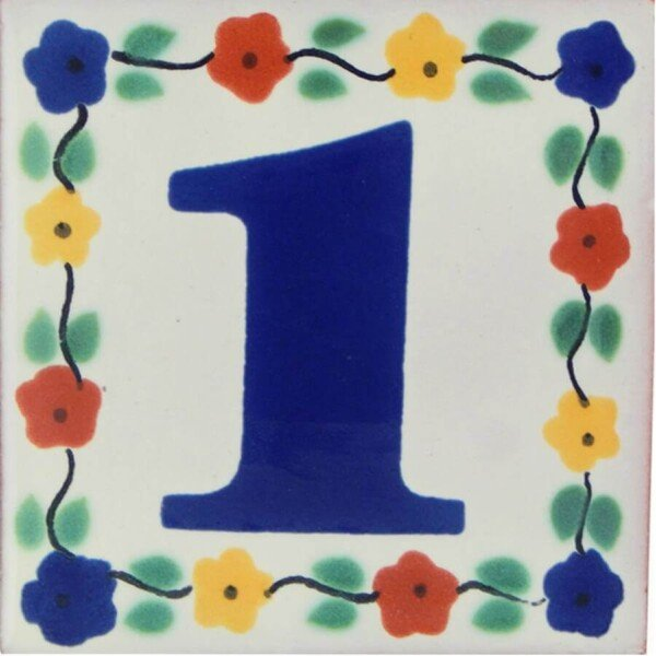 Mexican Ceramic Handmade Flower Number Tile