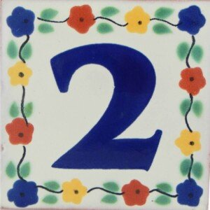 Mexican Hand painted Decorative Flower Number Tile