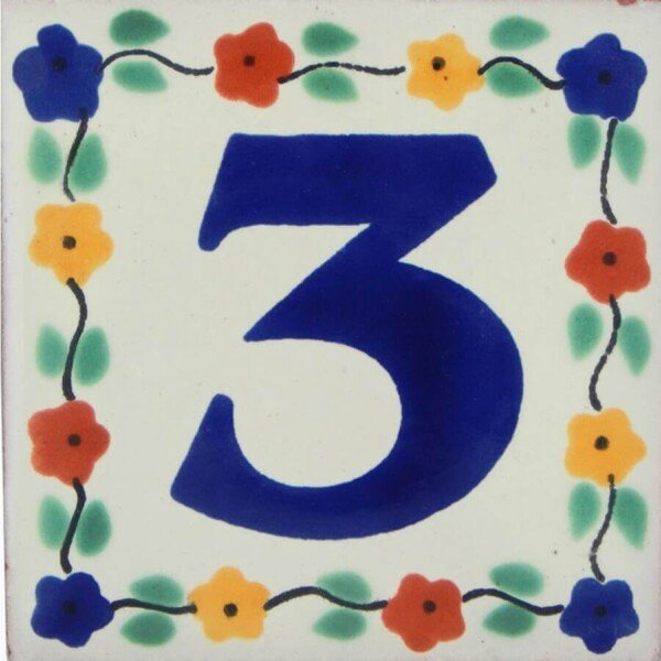 Mexican Decorative handmade Flower Number Tile