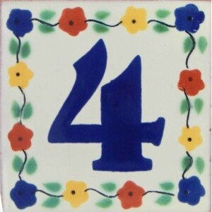Mexican Folk Art Decorative Flower Number Tile