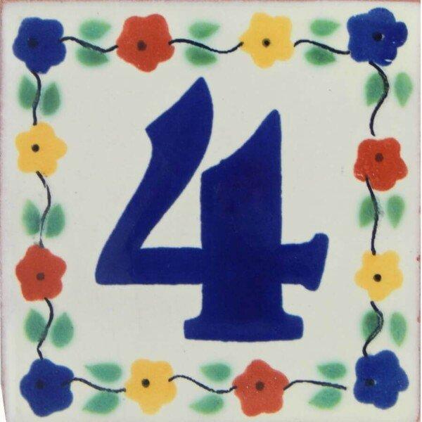 Mexican Folk Art Decorative Flower Number Tile