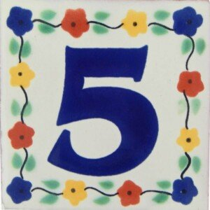 Mexican Flower Number Decorative Handmade Tile