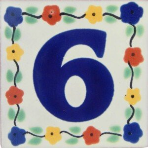 Mexican Ceramic Handmade Hand painted Flower Number Tile