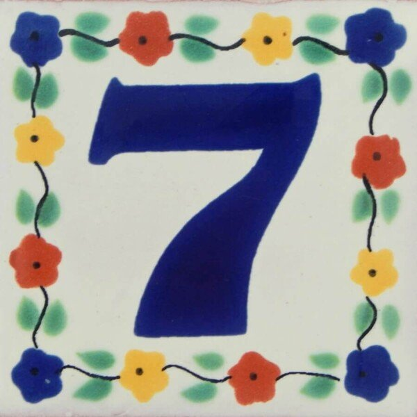 Mexican Handmade Decorative Flower Number Tile