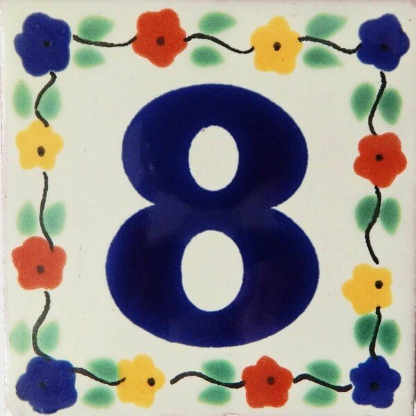Mexican Hand painted Folk Art Flower Number Tile