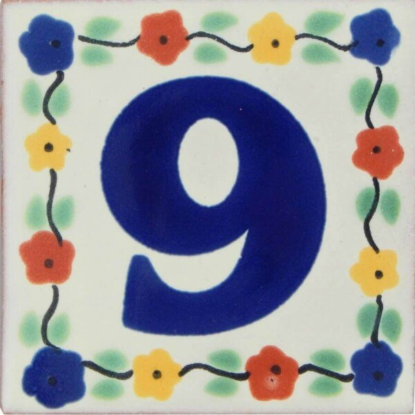 Mexican Decorative Hand Painted Flower Number Tile