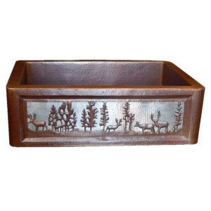 Apron Front Farmhouse Kitchen Mexican Copper Sink Pine Deer