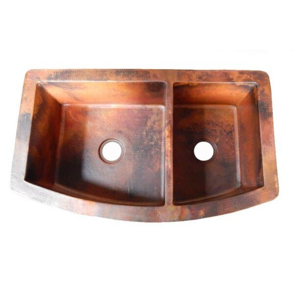... Rounded Apron Front Farmhouse Kitchen Double Bowl Mexican Copper Sink  60/40 ...