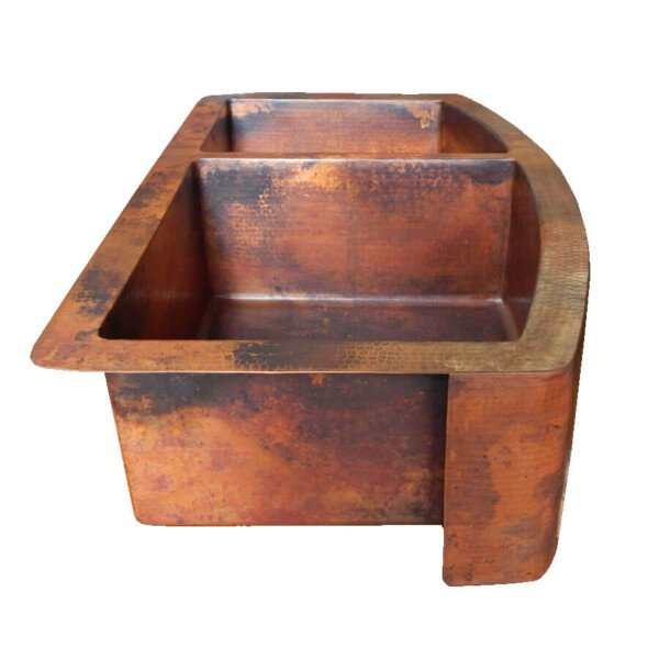 ... Rounded Apron Front Farmhouse Kitchen Double Bowl Mexican Copper Sink  60/40 Stained Patina