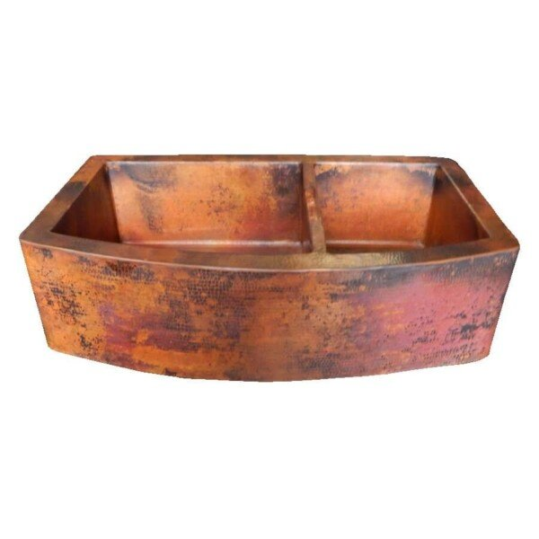 Rounded Apron Front Farmhouse Kitchen Double Bowl Mexican Copper Sink 60/40 Stained Patina