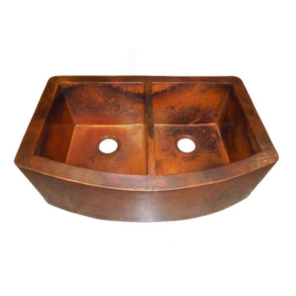 Rounded Apron Front Farmhouse Kitchen Double Bowl Mexican Copper Sink 50/50  Stained Patina 06