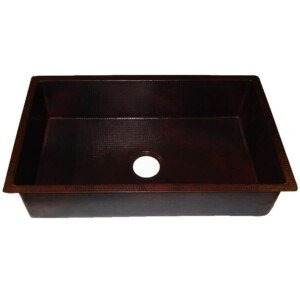 Copper Hammered Single Basin Drop-in Kitchen Mexican Copper Rectangular Sink
