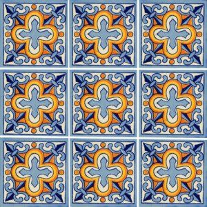 Flor de liz Cross Mexican Ceramic Handmade Folk Art Tiles