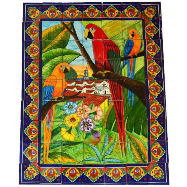 Guacamayas Mexican Ceramic Handmade Folk Art Mural Tile