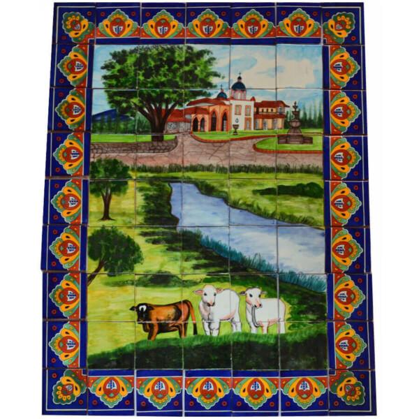 Mexican Talavera Mosaic Mural Tile Handmade Cows Backsplash Folk Art