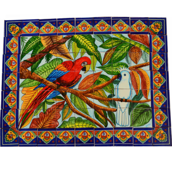Mexican Talavera Mosaic Mural Tile Handmade Guacamaya & White Cockatoo