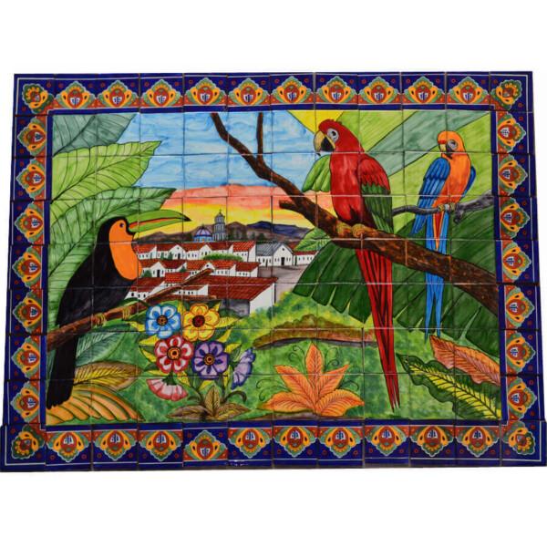Mexican Talavera Mosaic Mural Tile Handmade Guacamayas & Toucan Backsplash