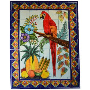 Mexican Talavera Mosaic Mural Tile Handmade Guacamayas & Fruits Backsplash