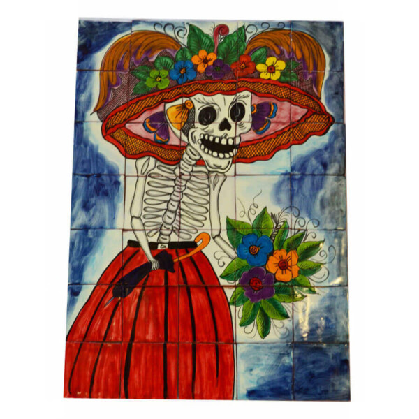 Mexican Talavera Mosaic Mural Tile Handmade CATRINA Day Of The Dead