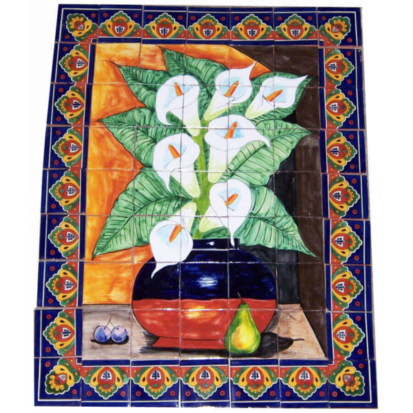 Mexican Talavera Mosaic Mural Tile Handmade Folk Art Calla Lily Backsplash
