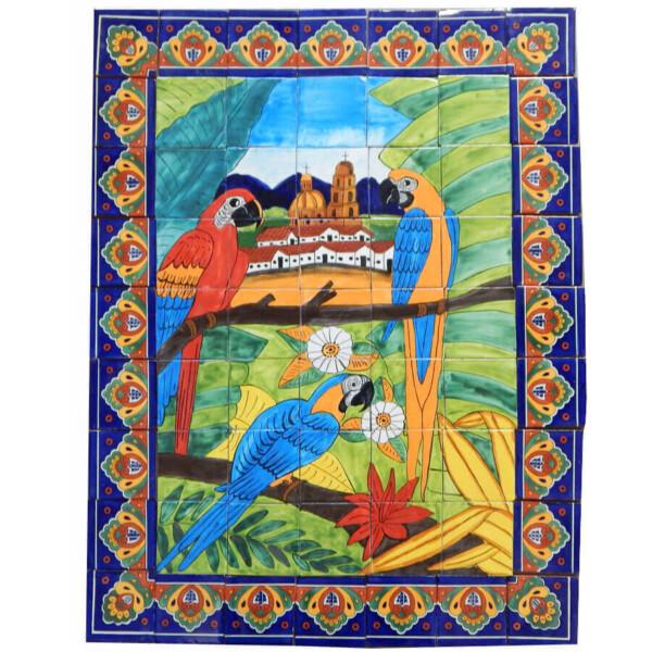 Mexican Talavera Mosaic Mural Tile Handmade Folk Art Guacamayas Backsplash