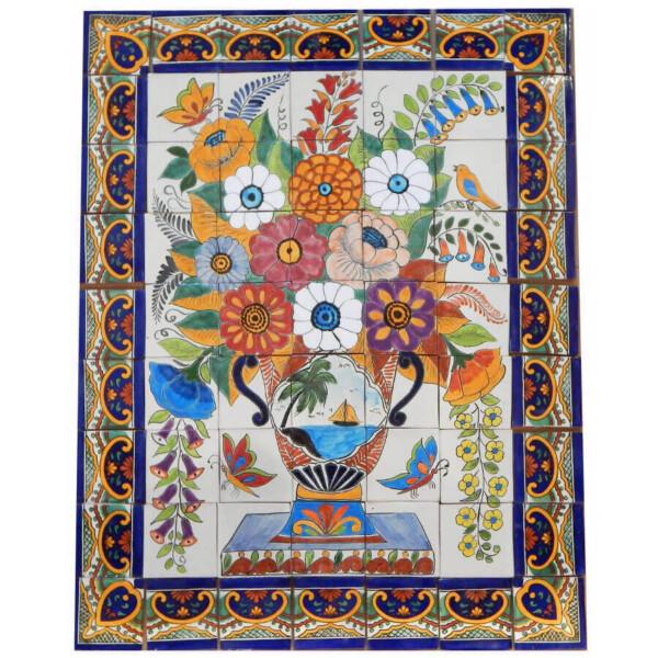 Mexican Talavera Mosaic Mural Tile Handmade Flowers Folk Art Backsplash