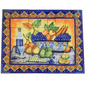 Mexican Talavera Mosaic Mural Tile Handmade Folk Art Backsplash