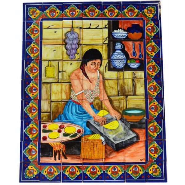 Mexican Talavera Mosaic Mural Tile Handmade Tortilla Maker Backsplash