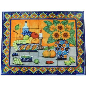 Mexican Talavera Mosaic Mural Tile Handmade Still Life Sunflower Backsplash