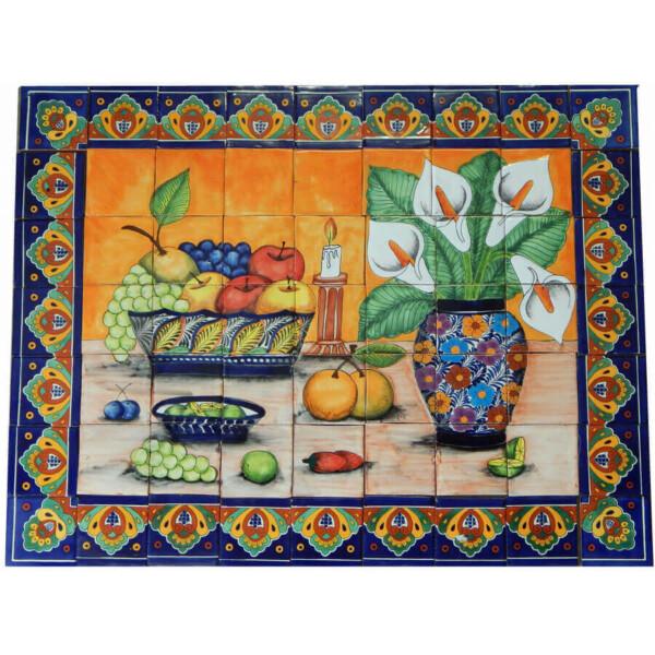 Mexican Talavera Mosaic Mural Tile Handmade Still Life Calla Lily Mosaic