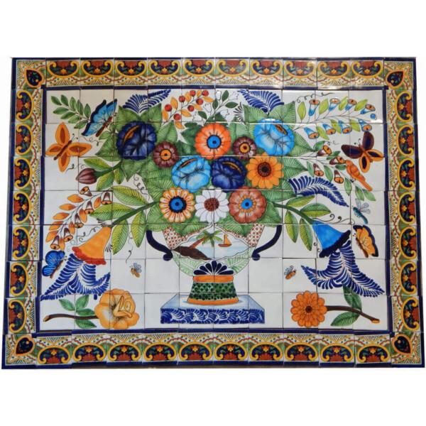 Mexican Talavera Mosaic Mural Tile Handmade Pot Vase Flowers Backsplash
